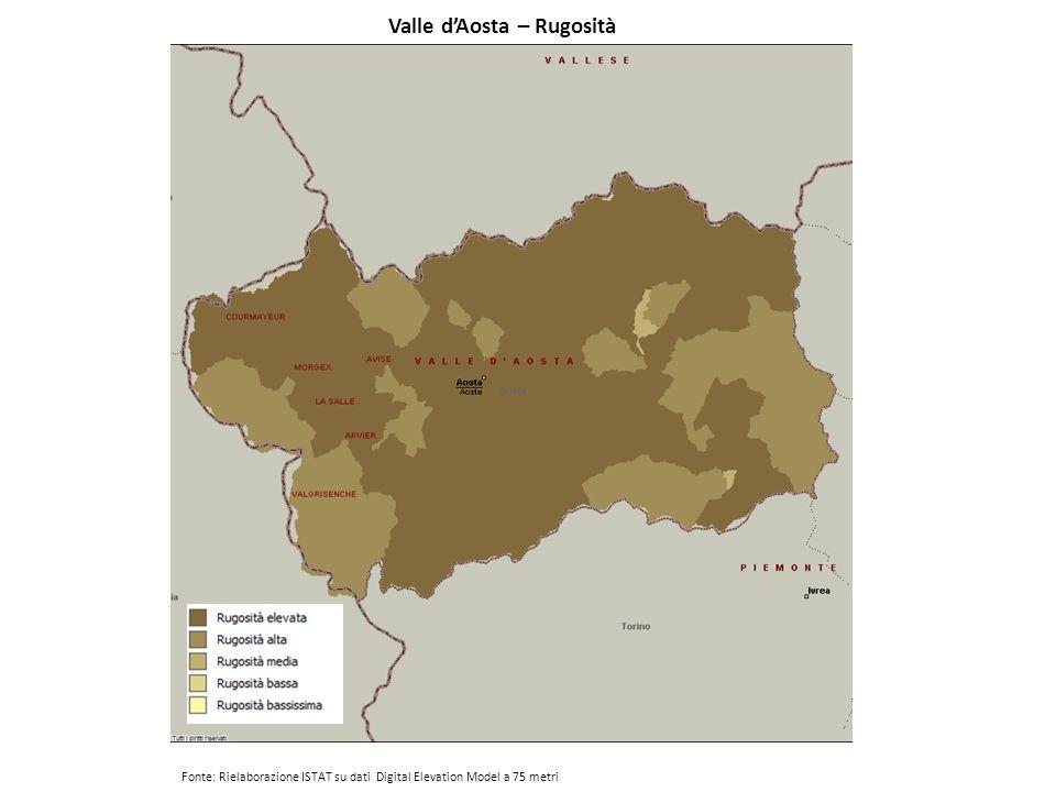 Valle d'Aosta – Rugosità Fonte: Rielaborazione ISTAT su dati Digital Elevation Model a 75 metri