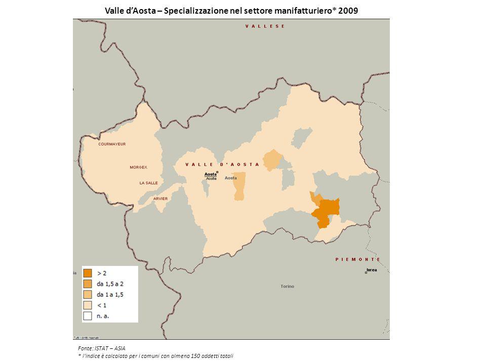 Valle d'Aosta – Specializzazione nel settore manifatturiero* 2009 Fonte: ISTAT – ASIA * l'indice è calcolato per i comuni con almeno 150 addetti total