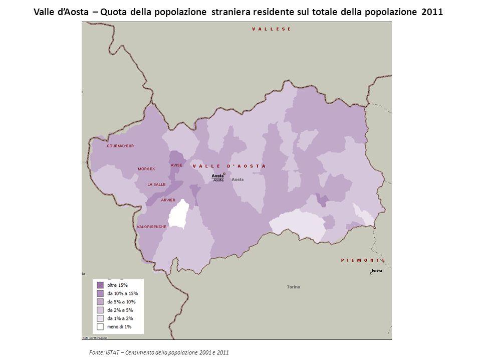 Valle d'Aosta – Quota della popolazione straniera residente sul totale della popolazione 2011 Fonte: ISTAT – Censimento della popolazione 2001 e 2011