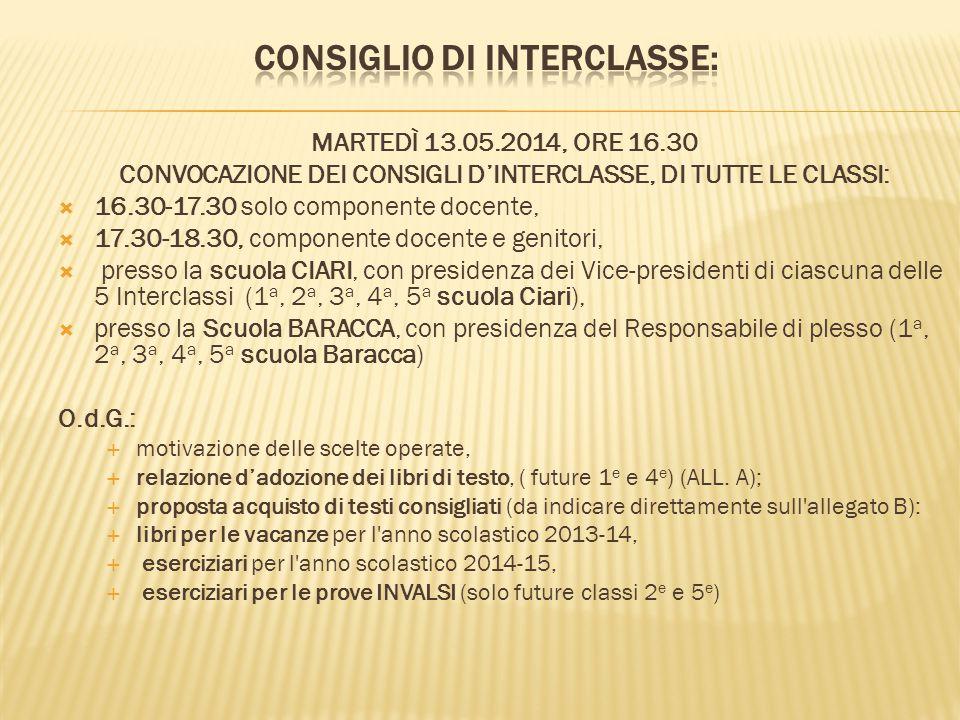 MARTEDÌ 13.05.2014, ORE 16.30 CONVOCAZIONE DEI CONSIGLI D'INTERCLASSE, DI TUTTE LE CLASSI:  16.30-17.30 solo componente docente,  17.30-18.30, compo