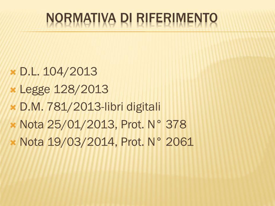  D.L. 104/2013  Legge 128/2013  D.M. 781/2013-libri digitali  Nota 25/01/2013, Prot. N° 378  Nota 19/03/2014, Prot. N° 2061
