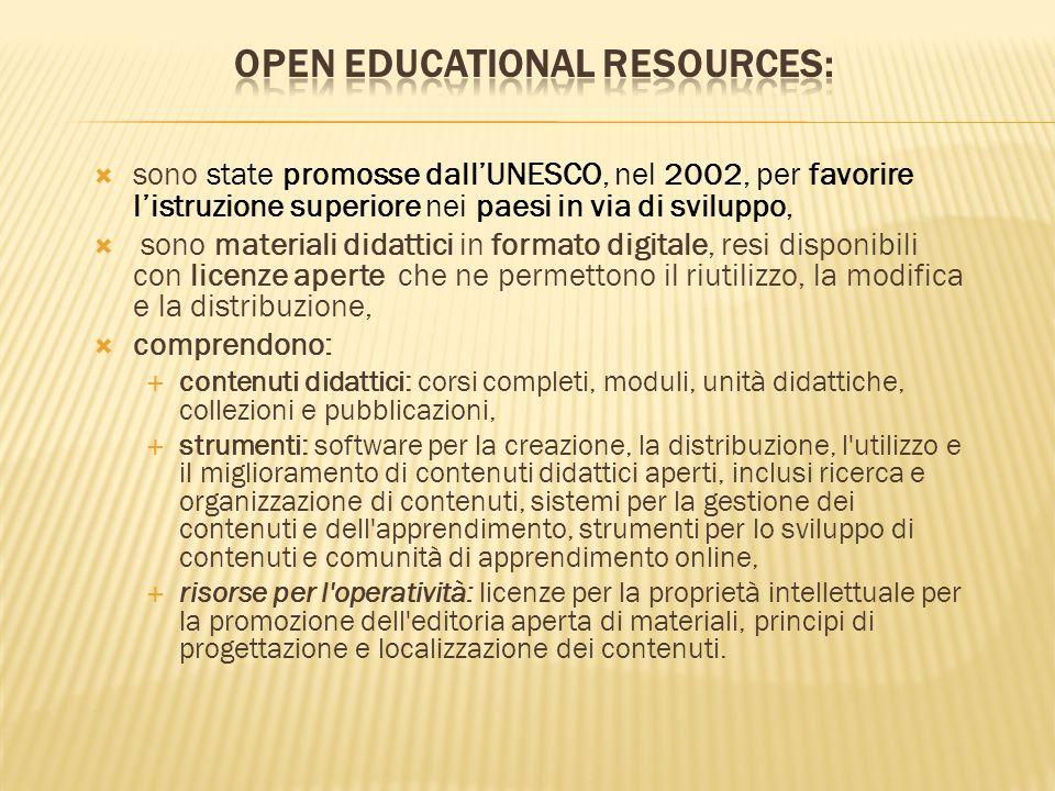  sono state promosse dall'UNESCO, nel 2002, per favorire l'istruzione superiore nei paesi in via di sviluppo,  sono materiali didattici in formato d