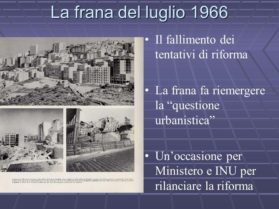 La frana del luglio 1966 Il fallimento dei tentativi di riforma La frana fa riemergere la questione urbanistica Un'occasione per Ministero e INU per rilanciare la riforma