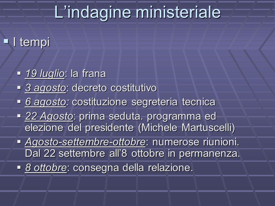 L'indagine ministeriale  I tempi  19 luglio: la frana  3 agosto: decreto costitutivo  6 agosto: costituzione segreteria tecnica  22 Agosto: prima seduta.