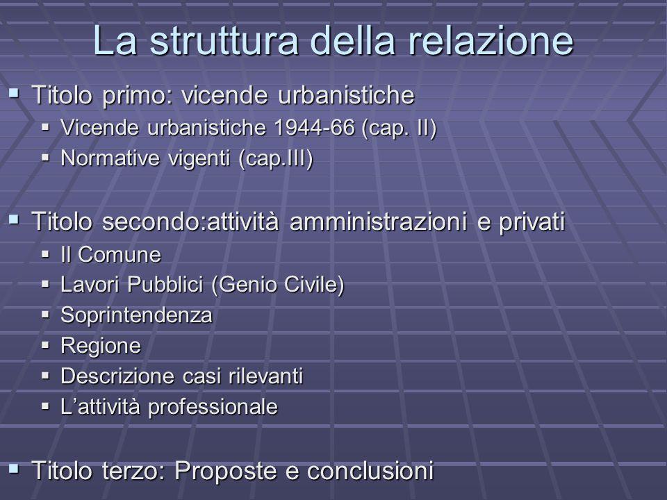 La struttura della relazione  Titolo primo: vicende urbanistiche  Vicende urbanistiche 1944-66 (cap.