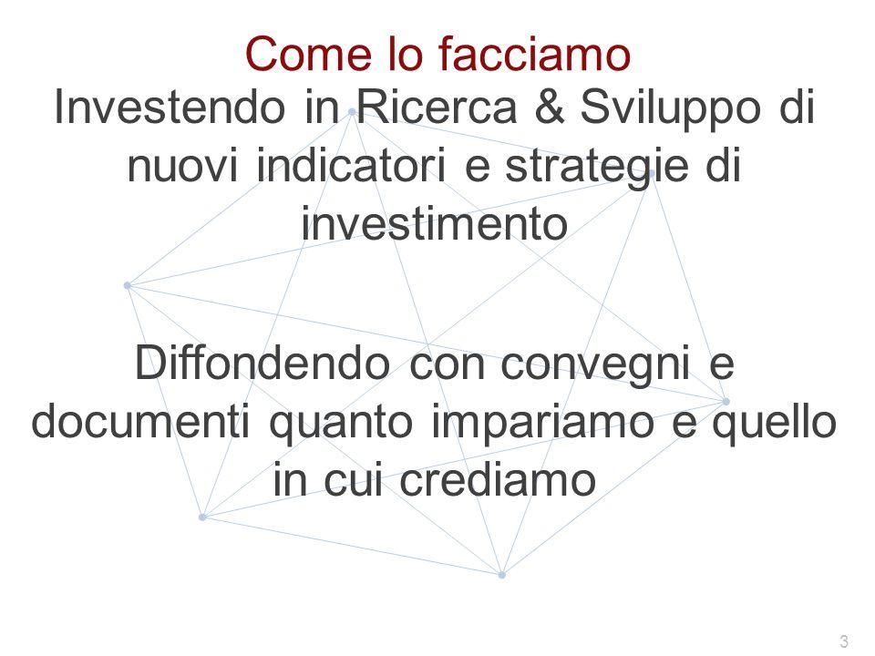 Come lo facciamo Investendo in Ricerca & Sviluppo di nuovi indicatori e strategie di investimento Diffondendo con convegni e documenti quanto impariamo e quello in cui crediamo 3