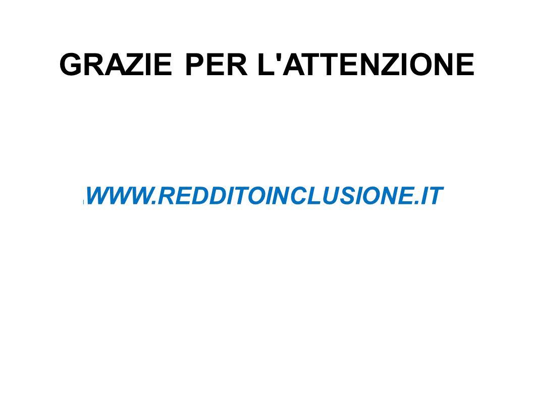 GRAZIE PER L ATTENZIONE l WWW.REDDITOINCLUSIONE.IT