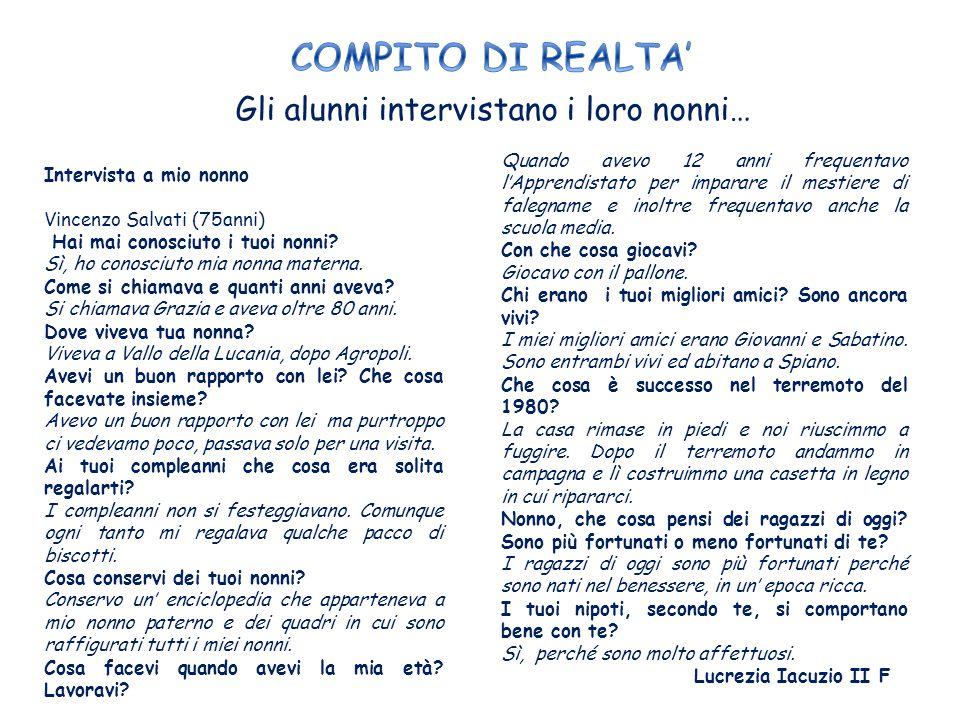 Gli alunni intervistano i loro nonni… INTERVISTA A MIO NONNO Come ti chiami? Antoni Ceruso. Quanti anni hai? Ho 76 anni. Dove abitavi quando eri picco
