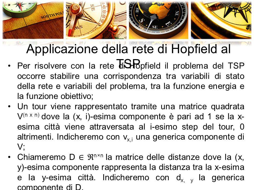 Applicazione della rete di Hopfield al TSP Per risolvere con la rete di Hopfield il problema del TSP occorre stabilire una corrispondenza tra variabili di stato della rete e variabili del problema, tra la funzione energia e la funzione obiettivo; Un tour viene rappresentato tramite una matrice quadrata V (n x n) dove la (x, i)-esima componente è pari ad 1 se la x- esima città viene attraversata al i-esimo step del tour, 0 altrimenti.