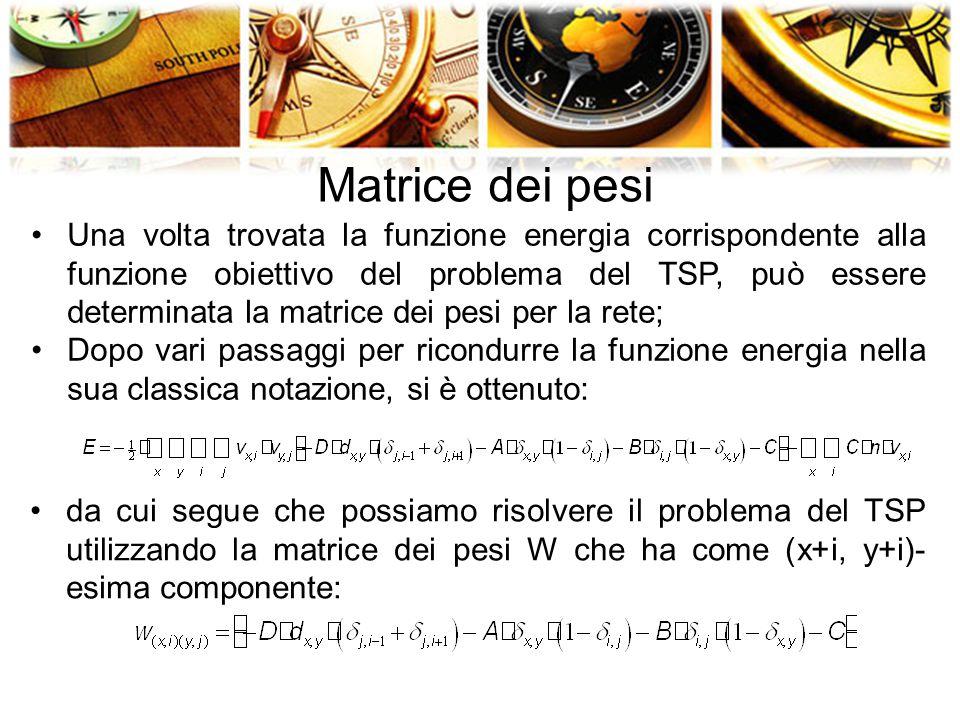 Matrice dei pesi Una volta trovata la funzione energia corrispondente alla funzione obiettivo del problema del TSP, può essere determinata la matrice dei pesi per la rete; Dopo vari passaggi per ricondurre la funzione energia nella sua classica notazione, si è ottenuto: da cui segue che possiamo risolvere il problema del TSP utilizzando la matrice dei pesi W che ha come (x+i, y+i)- esima componente: