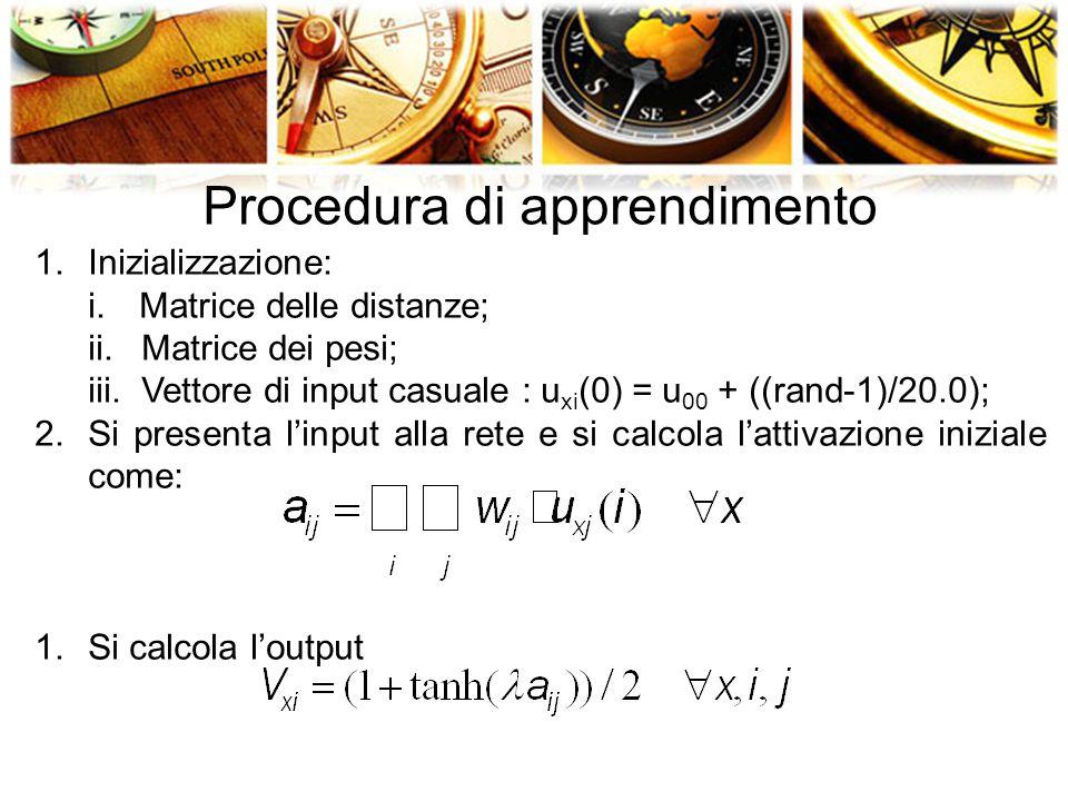 Procedura di apprendimento 1.Inizializzazione: i.Matrice delle distanze; ii.Matrice dei pesi; iii.Vettore di input casuale : u xi (0) = u 00 + ((rand-1)/20.0); 2.Si presenta l'input alla rete e si calcola l'attivazione iniziale come: 1.Si calcola l'output