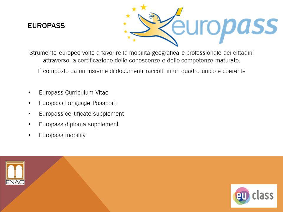 EUROPASS Strumento europeo volto a favorire la mobilità geografica e professionale dei cittadini attraverso la certificazione delle conoscenze e delle