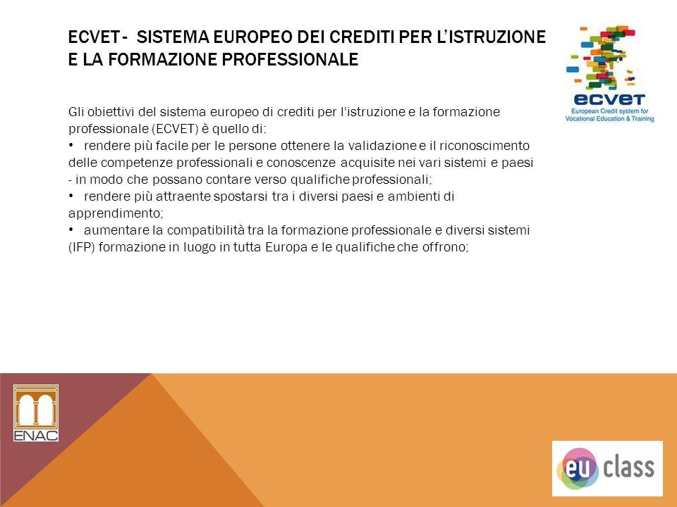 ECVET - SISTEMA EUROPEO DEI CREDITI PER L'ISTRUZIONE E LA FORMAZIONE PROFESSIONALE Gli obiettivi del sistema europeo di crediti per l'istruzione e la