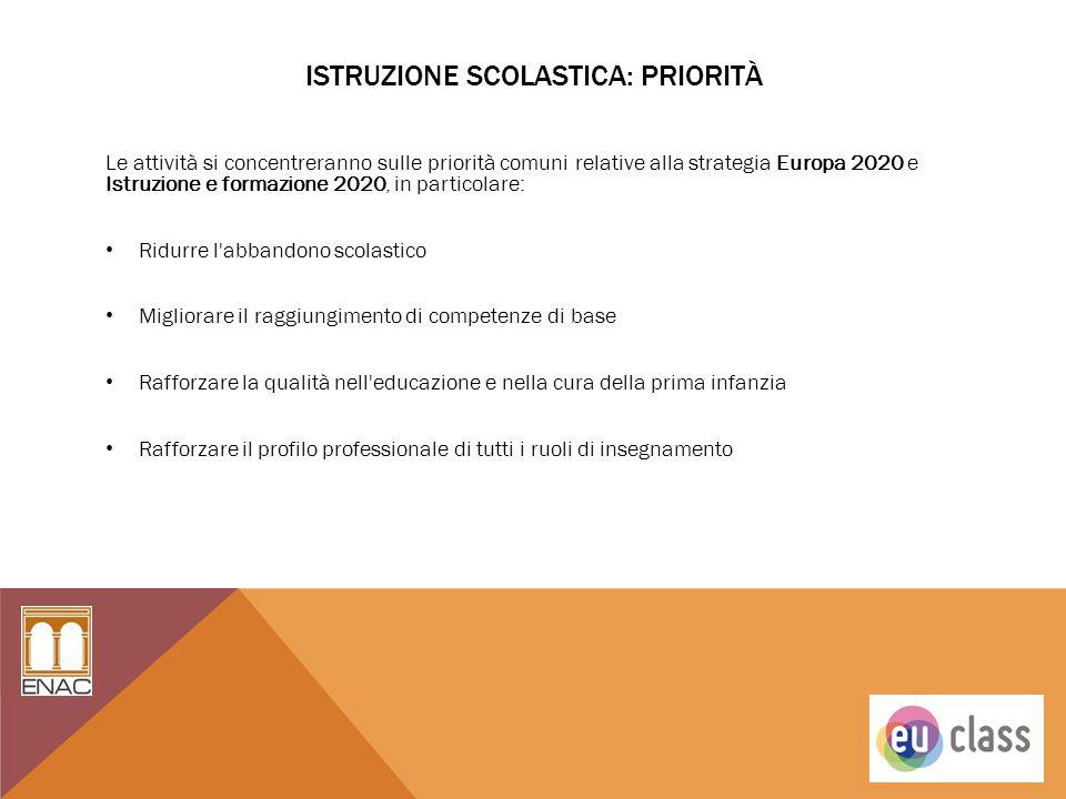ISTRUZIONE SCOLASTICA: PRIORITÀ Le attività si concentreranno sulle priorità comuni relative alla strategia Europa 2020 e Istruzione e formazione 2020