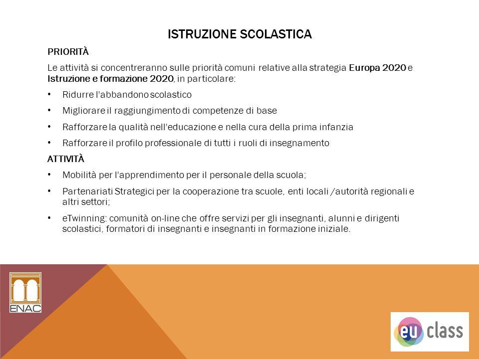 ISTRUZIONE SCOLASTICA PRIORITÀ Le attività si concentreranno sulle priorità comuni relative alla strategia Europa 2020 e Istruzione e formazione 2020,