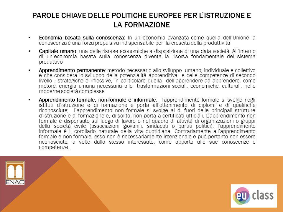 PAROLE CHIAVE DELLE POLITICHE EUROPEE PER L'ISTRUZIONE E LA FORMAZIONE Economia basata sulla conoscenza: In un economia avanzata come quella dell'Unio