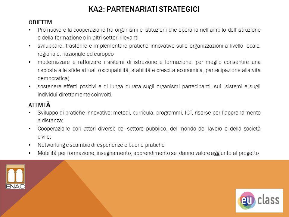 KA2: PARTENARIATI STRATEGICI OBIETTIVI Promuovere la cooperazione fra organismi e istituzioni che operano nell'ambito dell'istruzione e della formazio