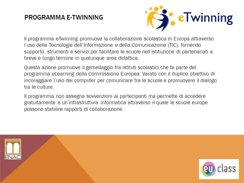 PROGRAMMA E-TWINNING Il programma eTwinning promuove la collaborazione scolastica in Europa attraverso l'uso delle Tecnologie dell'Informazione e dell