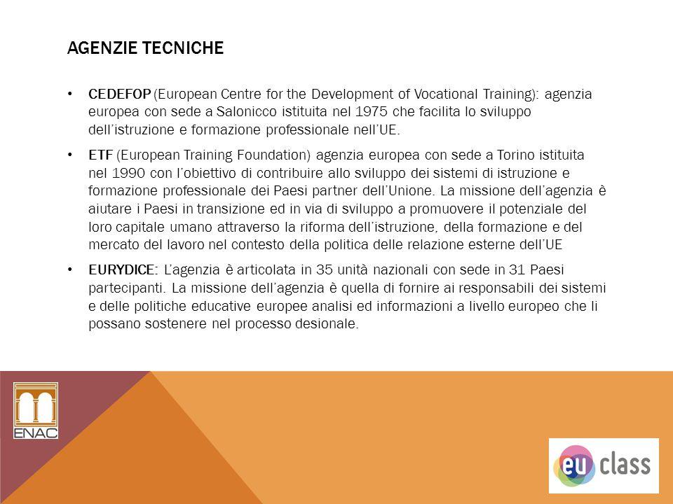 AGENZIE TECNICHE CEDEFOP (European Centre for the Development of Vocational Training): agenzia europea con sede a Salonicco istituita nel 1975 che fac