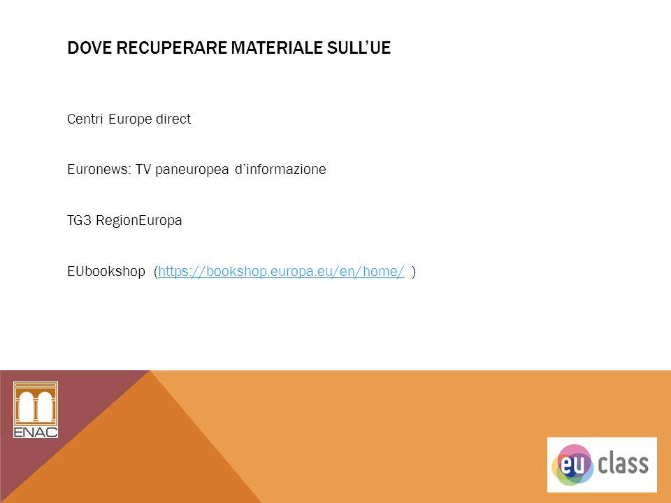 DOVE RECUPERARE MATERIALE SULL'UE Centri Europe direct Euronews: TV paneuropea d'informazione TG3 RegionEuropa EUbookshop (https://bookshop.europa.eu/