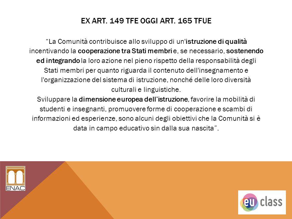 """EX ART. 149 TFE OGGI ART. 165 TFUE """"La Comunità contribuisce allo sviluppo di un'istruzione di qualità incentivando la cooperazione tra Stati membri e"""