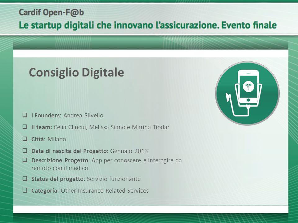  I Founders: Andrea Silvello  Il team: Celia Clinciu, Melissa Siano e Marina Tiodar  Città: Milano  Data di nascita del Progetto: Gennaio 2013  D