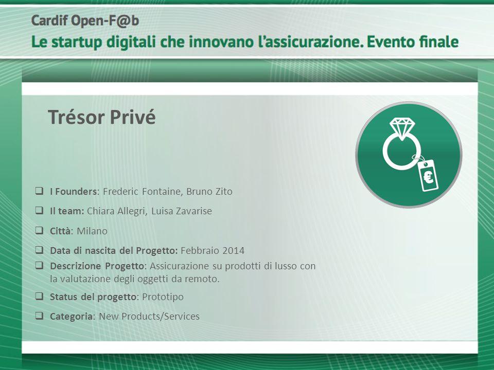  I Founders: Frederic Fontaine, Bruno Zito  Il team: Chiara Allegri, Luisa Zavarise  Città: Milano  Data di nascita del Progetto: Febbraio 2014 