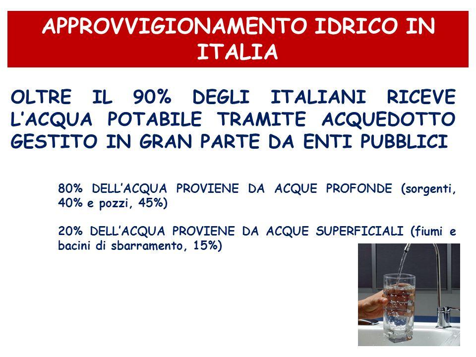 OLTRE IL 90% DEGLI ITALIANI RICEVE L'ACQUA POTABILE TRAMITE ACQUEDOTTO GESTITO IN GRAN PARTE DA ENTI PUBBLICI 80% DELL'ACQUA PROVIENE DA ACQUE PROFOND