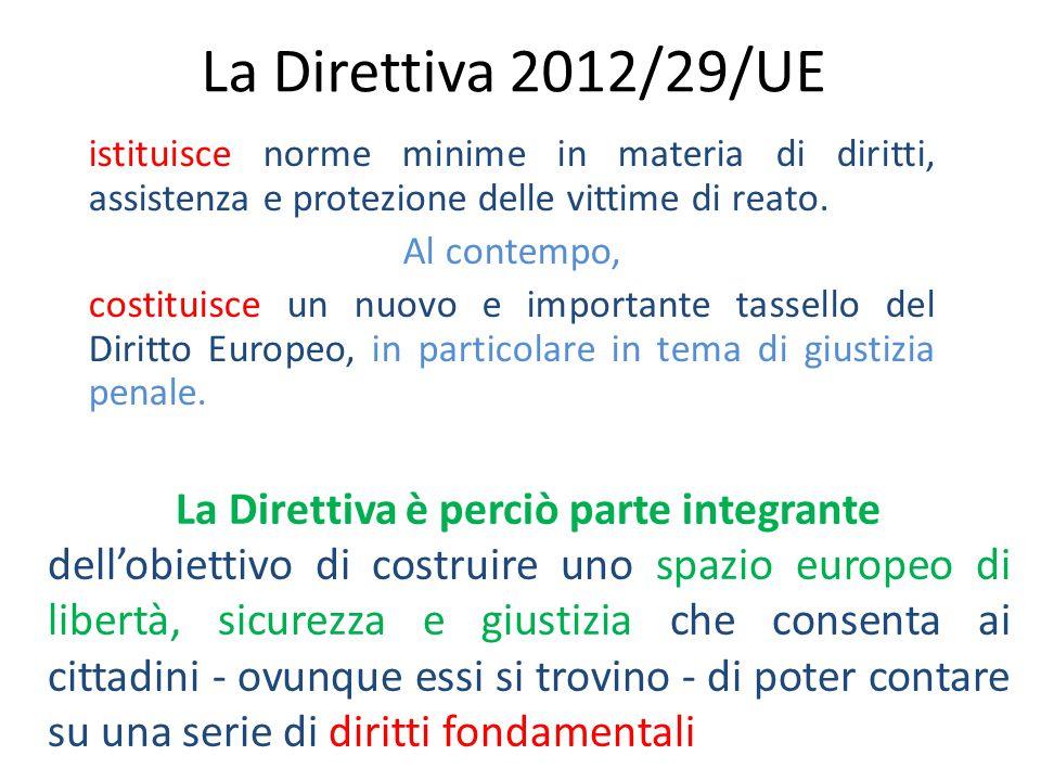La Direttiva 2012/29/UE istituisce norme minime in materia di diritti, assistenza e protezione delle vittime di reato.