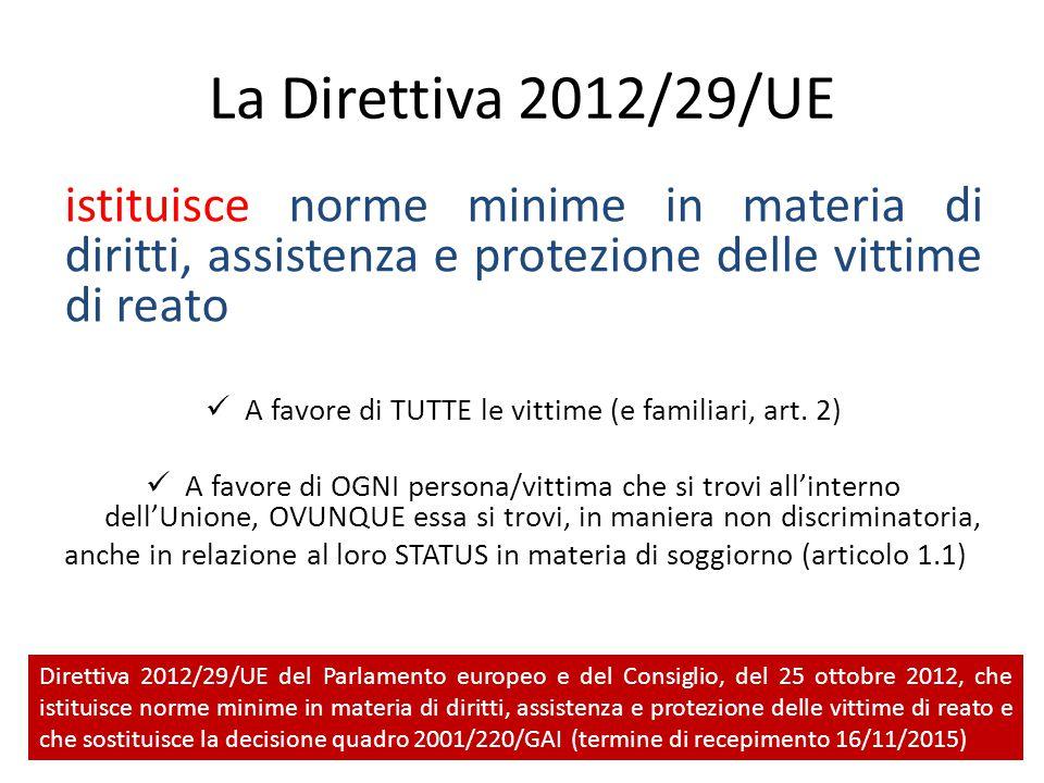 La Direttiva 2012/29/UE istituisce norme minime in materia di diritti, assistenza e protezione delle vittime di reato A favore di TUTTE le vittime (e familiari, art.