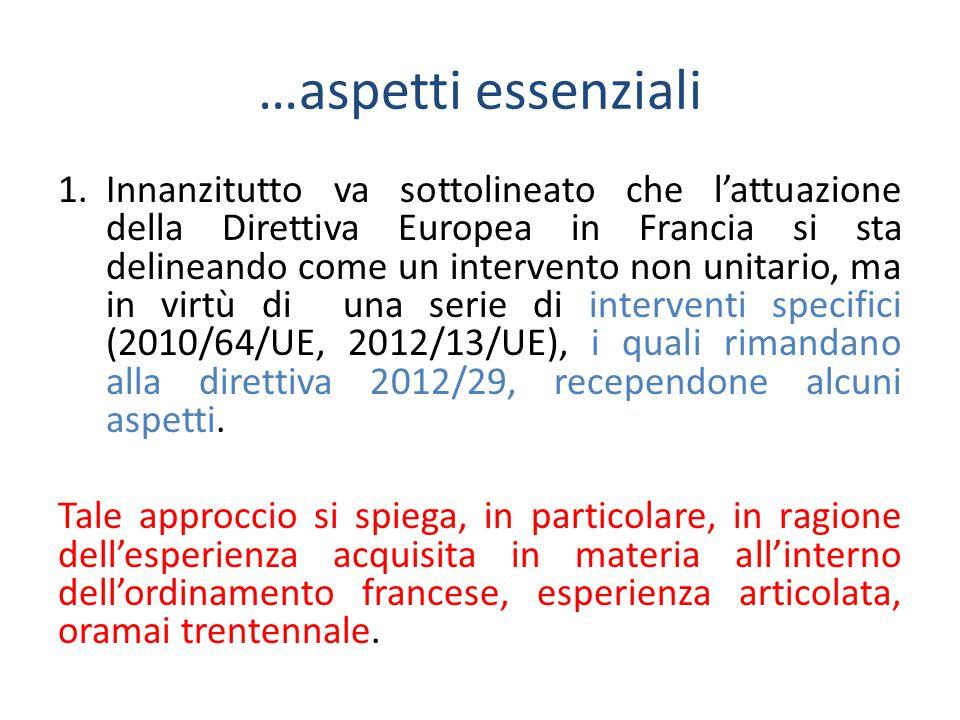 …aspetti essenziali 1.Innanzitutto va sottolineato che l'attuazione della Direttiva Europea in Francia si sta delineando come un intervento non unitario, ma in virtù di una serie di interventi specifici (2010/64/UE, 2012/13/UE), i quali rimandano alla direttiva 2012/29, recependone alcuni aspetti.