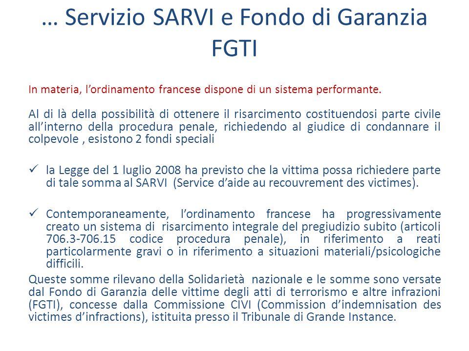 … Servizio SARVI e Fondo di Garanzia FGTI In materia, l'ordinamento francese dispone di un sistema performante.