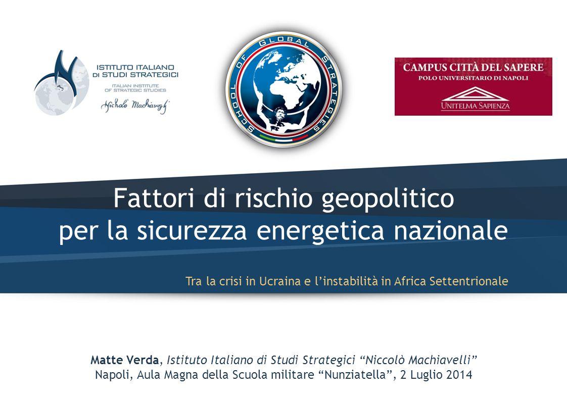 Matteo Verda – Fattori di rischio geopolitico per la sicurezza energetica nazionale Il paniere energetico italiano: evoluzione In milioni di tonnellate equivalenti di petrolio (Mtep) – 1913 – Fonte: BP rinnovabili