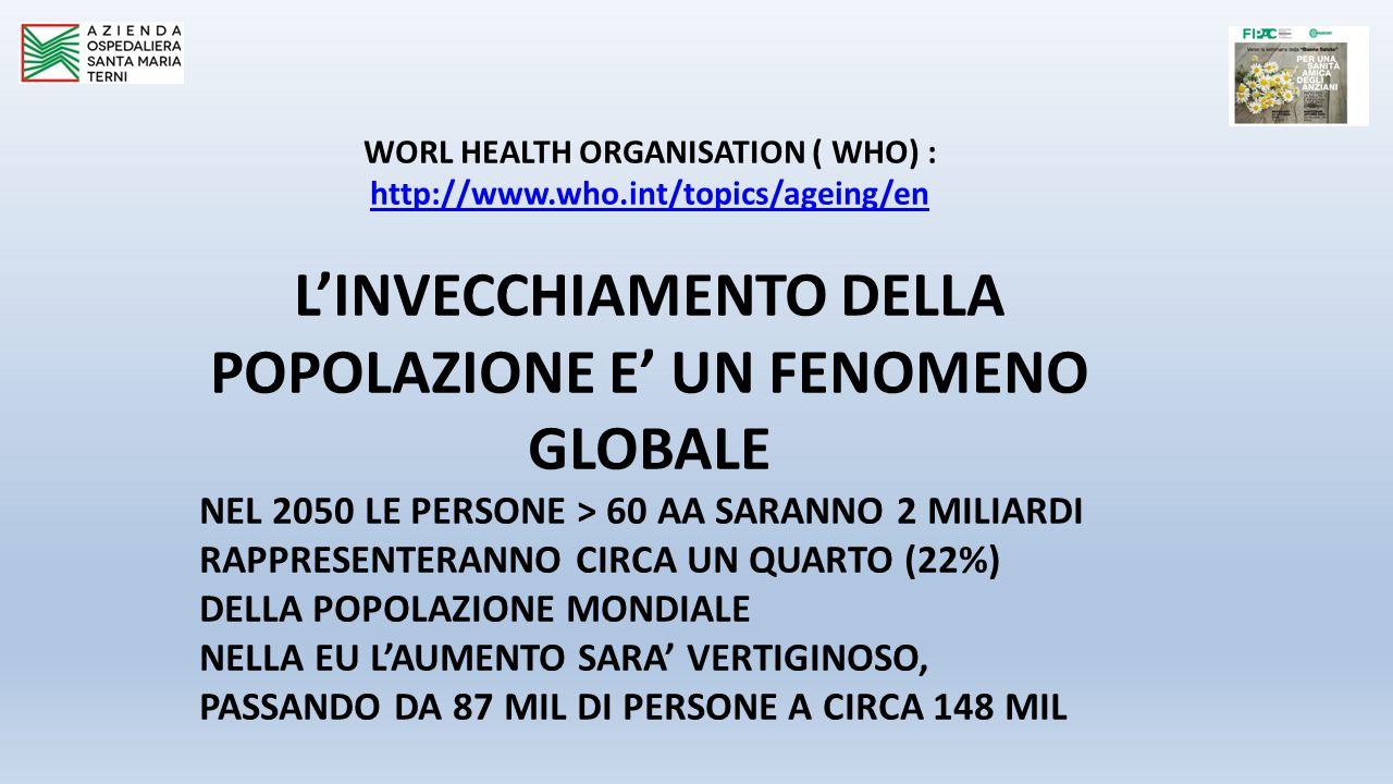 WORL HEALTH ORGANISATION ( WHO) : http://www.who.int/topics/ageing/en L'INVECCHIAMENTO DELLA POPOLAZIONE E' UN FENOMENO GLOBALE NEL 2050 LE PERSONE > 60 AA SARANNO 2 MILIARDI RAPPRESENTERANNO CIRCA UN QUARTO (22%) DELLA POPOLAZIONE MONDIALE NELLA EU L'AUMENTO SARA' VERTIGINOSO, PASSANDO DA 87 MIL DI PERSONE A CIRCA 148 MIL