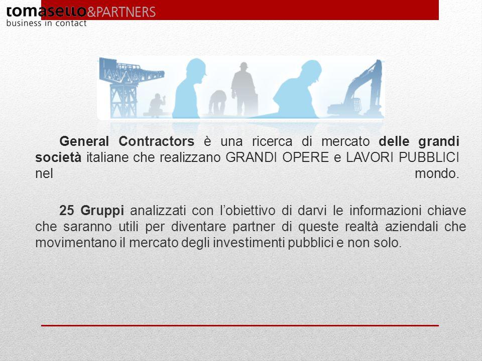 General Contractors è una ricerca di mercato delle grandi società italiane che realizzano GRANDI OPERE e LAVORI PUBBLICI nel mondo. 25 Gruppi analizza