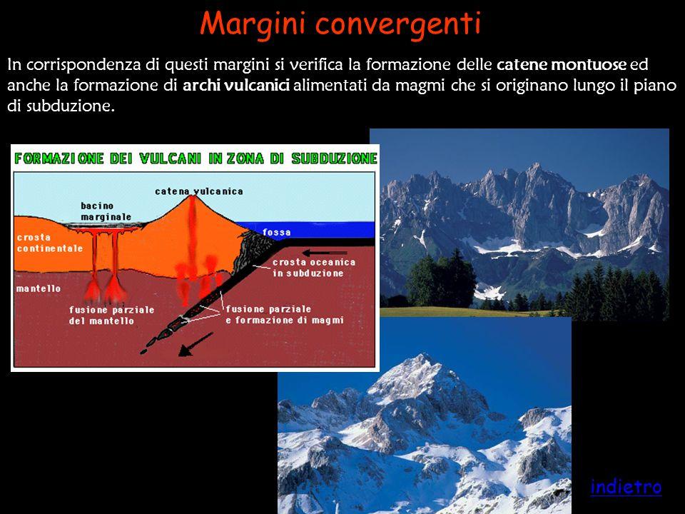In corrispondenza di questi margini si verifica la formazione delle catene montuose ed anche la formazione di archi vulcanici alimentati da magmi che
