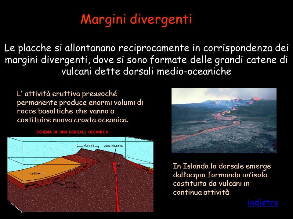 Margini divergenti Le placche si allontanano reciprocamente in corrispondenza dei margini divergenti, dove si sono formate delle grandi catene di vulc