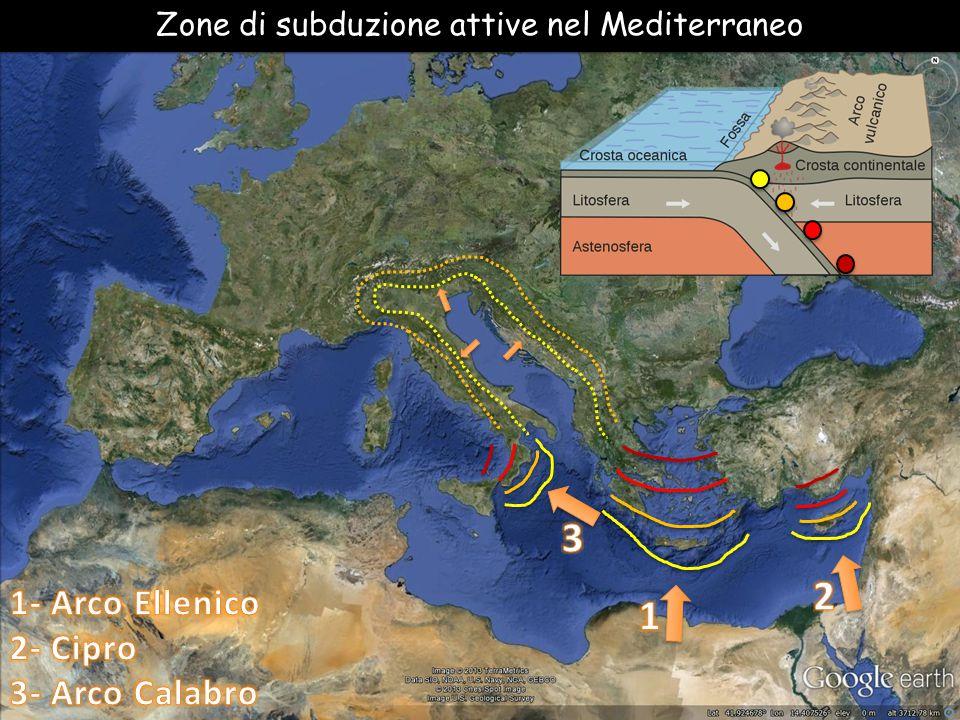 Zone di subduzione attive nel Mediterraneo