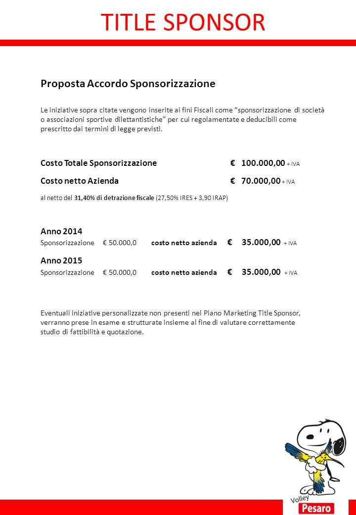 """Proposta Accordo Sponsorizzazione Le iniziative sopra citate vengono inserite ai fini Fiscali come """"sponsorizzazione di società o associazioni sportiv"""