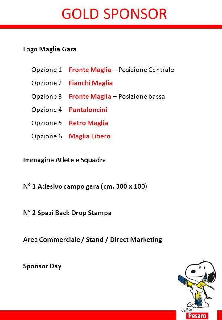 GOLD SPONSOR ne 1 Title Sponsor Denominazione Logo Maglia Gara Opzione 1 Fronte Maglia – Posizione Centrale Opzione 2 Fianchi Maglia Opzione 3 Fronte