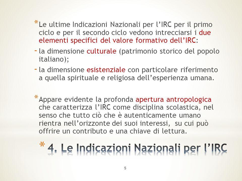 * Le ultime Indicazioni Nazionali per l'IRC per il primo ciclo e per il secondo ciclo vedono intrecciarsi i due elementi specifici del valore formativ
