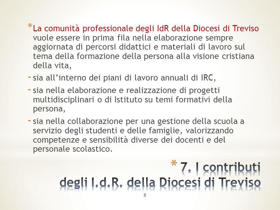 * La comunità professionale degli IdR della Diocesi di Treviso vuole essere in prima fila nella elaborazione sempre aggiornata di percorsi didattici e