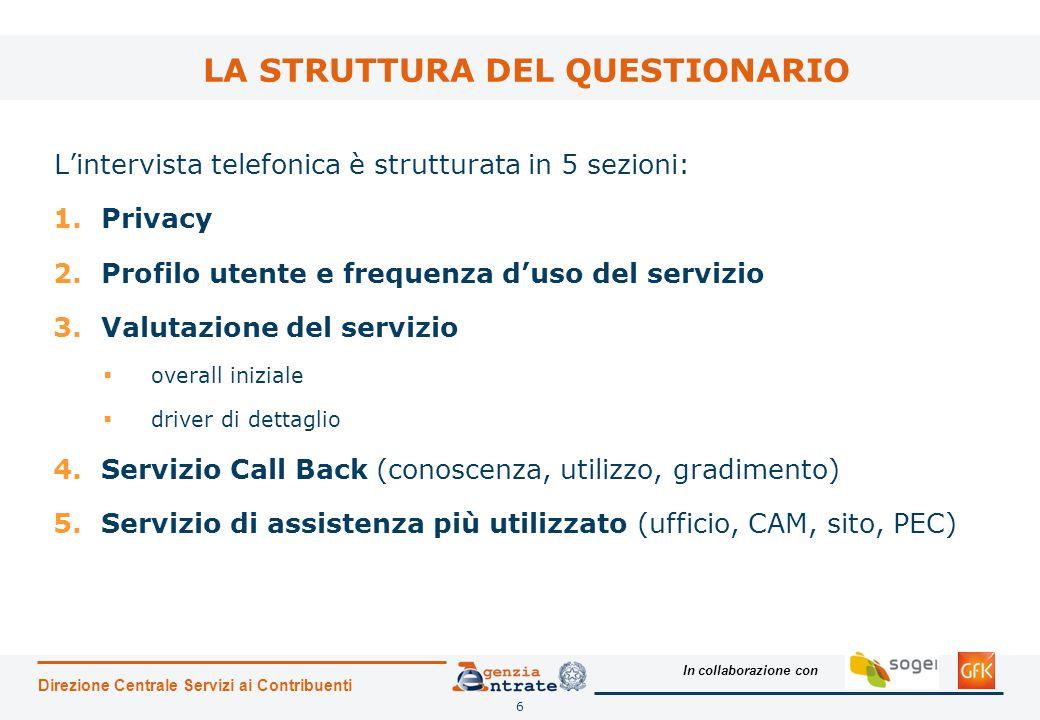 In collaborazione con L'intervista telefonica è strutturata in 5 sezioni: 1.Privacy 2.Profilo utente e frequenza d'uso del servizio 3.Valutazione del