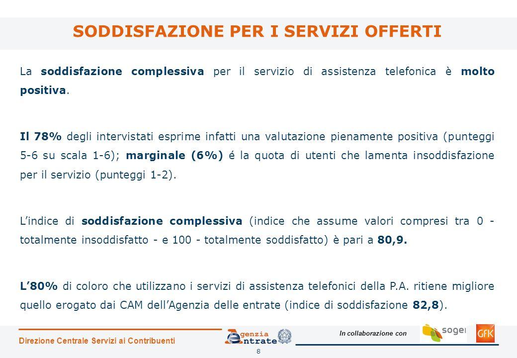 In collaborazione con 8 SODDISFAZIONE PER I SERVIZI OFFERTI Direzione Centrale Servizi ai Contribuenti La soddisfazione complessiva per il servizio di