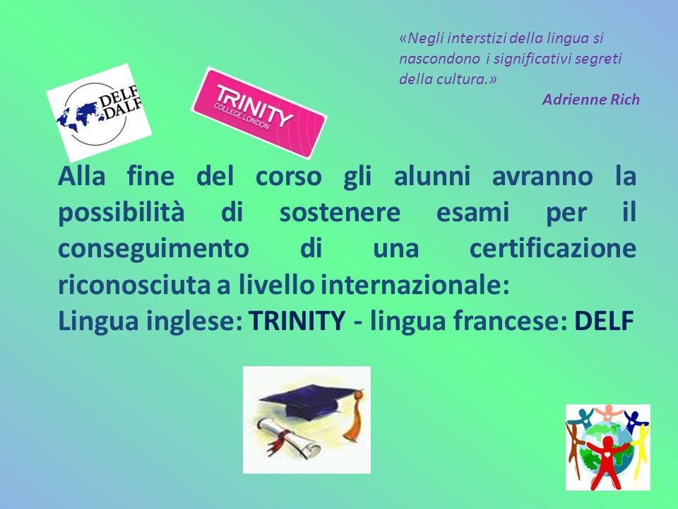 Per la lingua inglese gli esami si svolgeranno nella nostra scuola con esaminatori del Trinity College, che certificheranno il livello di competenza raggiunto.