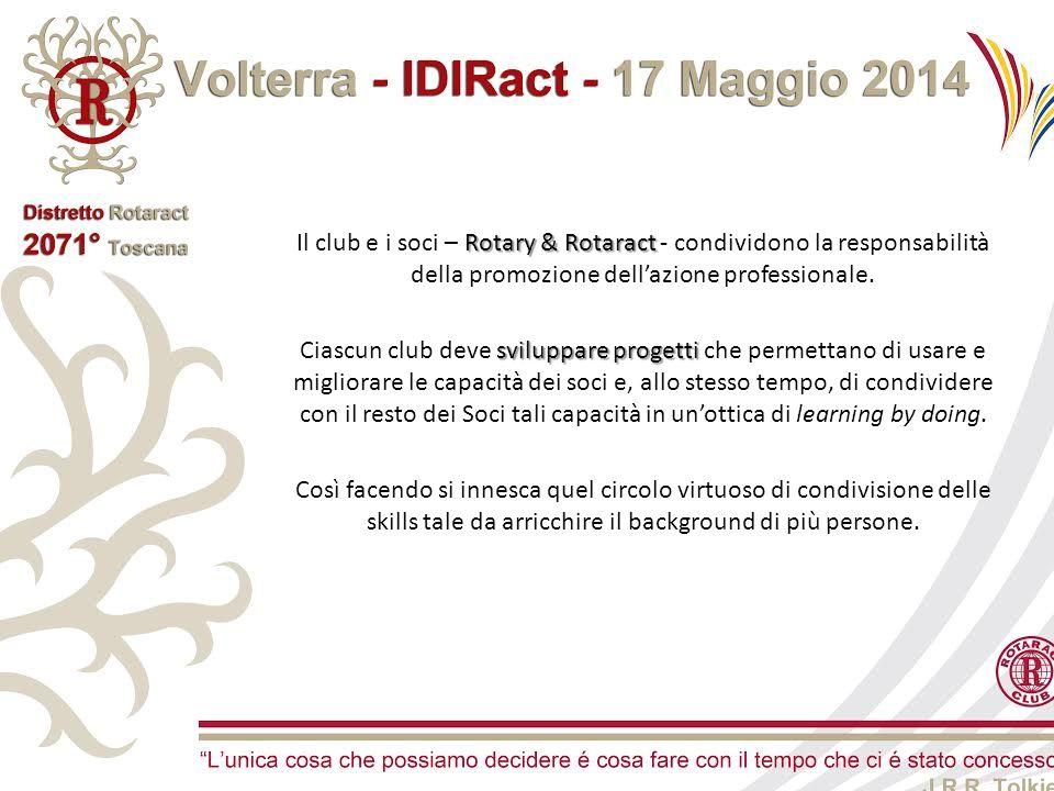 Rotary & Rotaract Il club e i soci – Rotary & Rotaract - condividono la responsabilità della promozione dell'azione professionale. sviluppare progetti