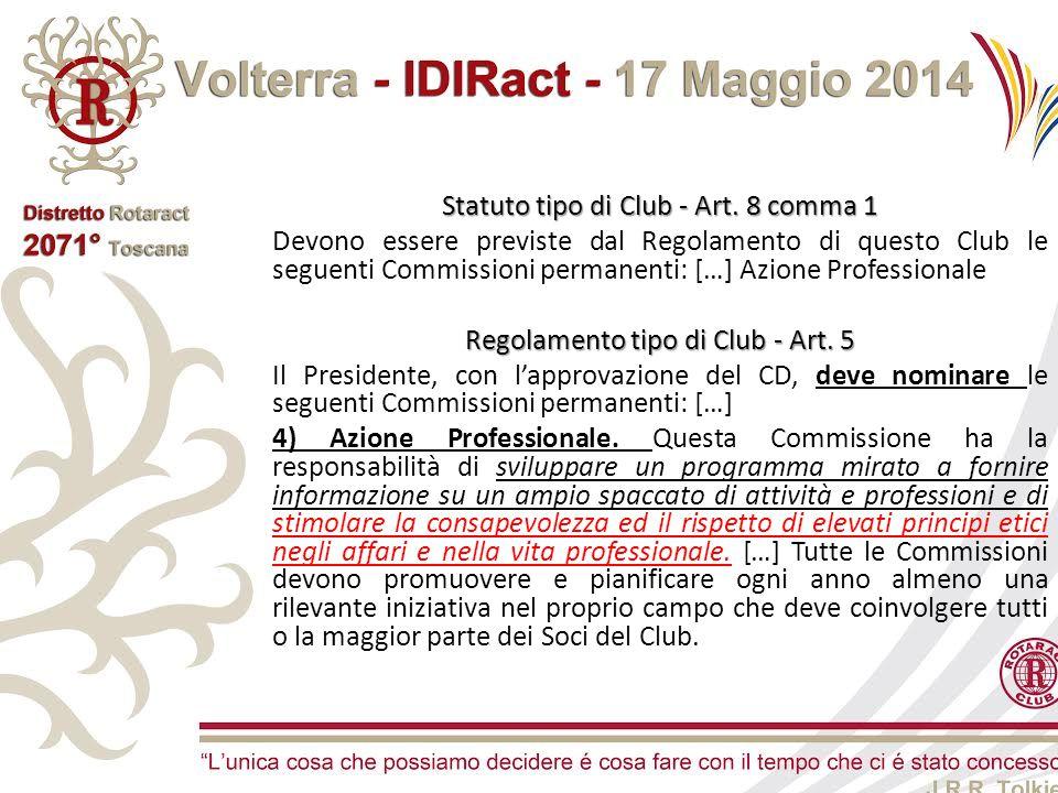 Statuto tipo di Club - Art. 8 comma 1 Devono essere previste dal Regolamento di questo Club le seguenti Commissioni permanenti: […] Azione Professiona