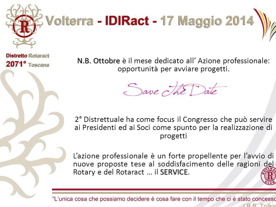N.B. Ottobre N.B. Ottobre è il mese dedicato all' Azione professionale: opportunità per avviare progetti. 2° Distrettuale ha come focus il Congresso c