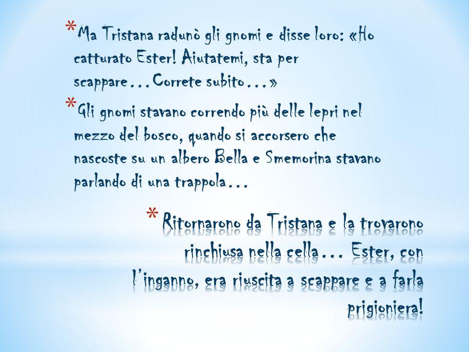 * Ma Tristana radunò gli gnomi e disse loro: «Ho catturato Ester! Aiutatemi, sta per scappare…Correte subito…» * Gli gnomi stavano correndo più delle