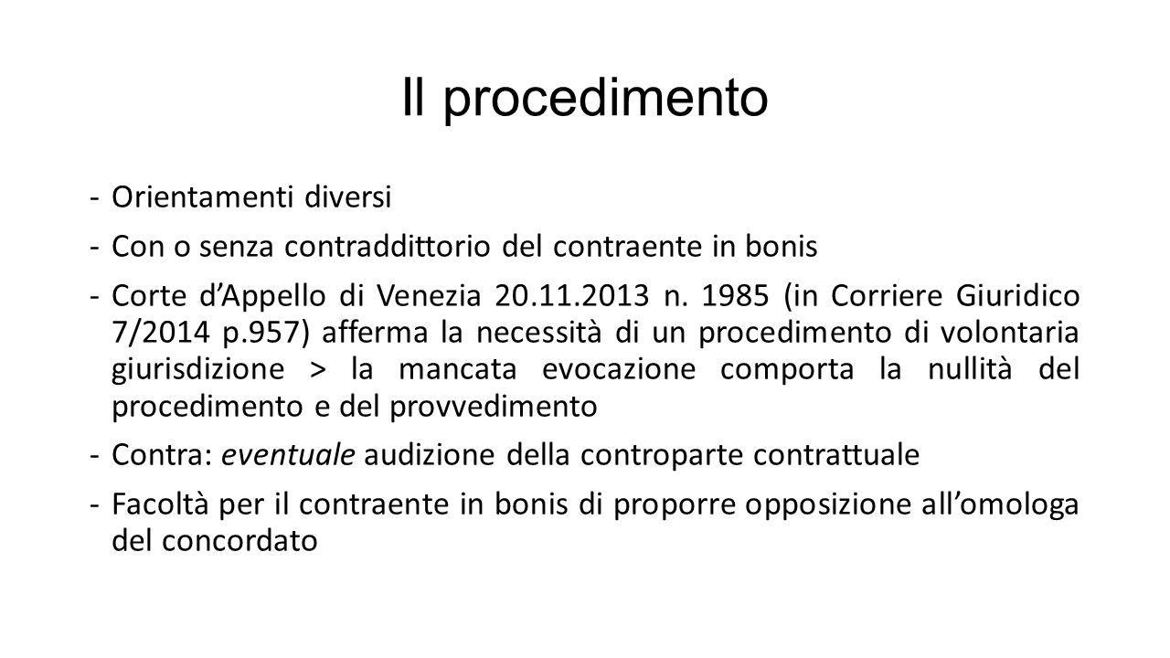 Il procedimento -Orientamenti diversi -Con o senza contraddittorio del contraente in bonis -Corte d'Appello di Venezia 20.11.2013 n.